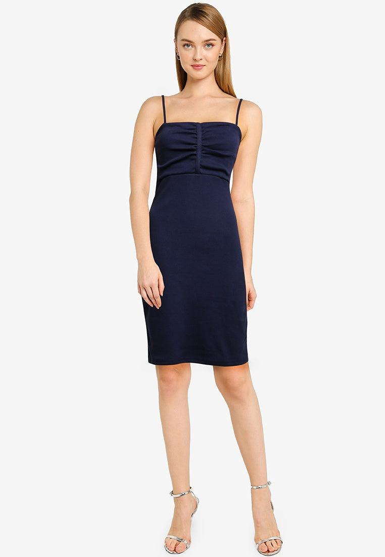 Center Ruched Side Rib Strap Dress