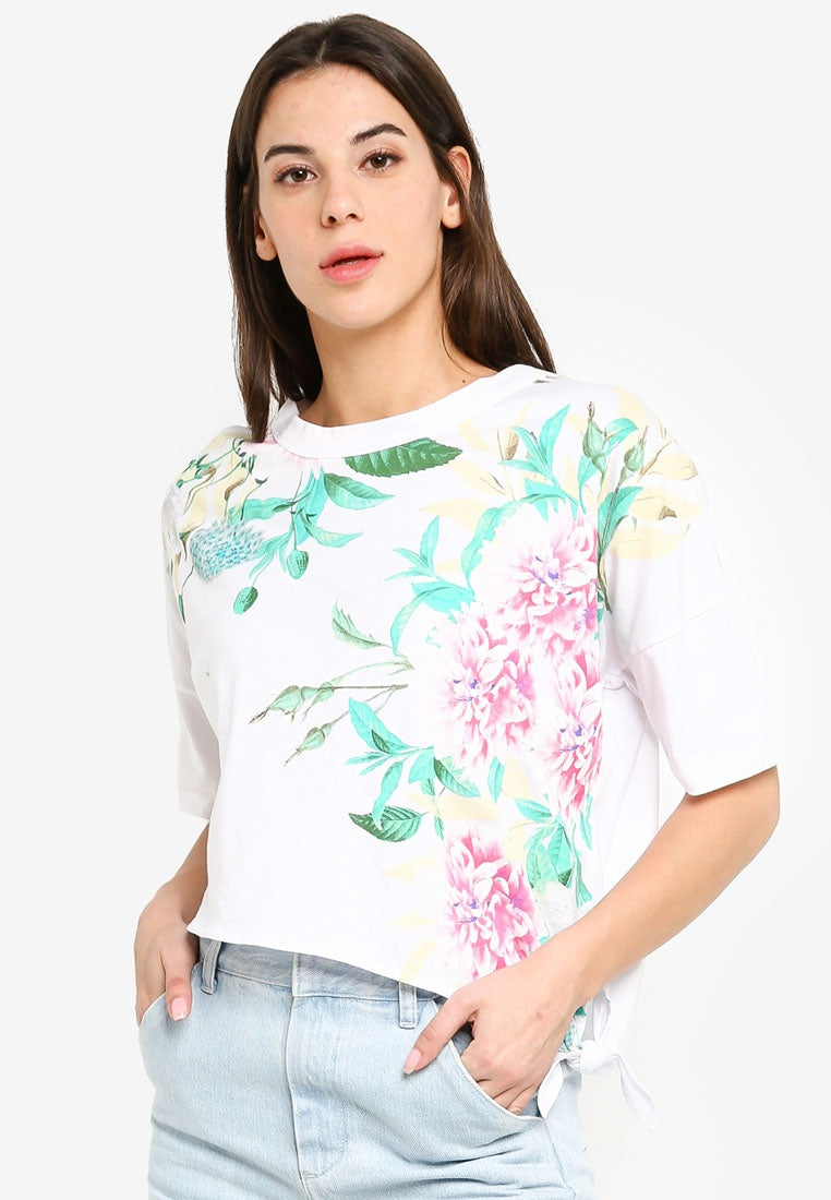 Floral Print Side Knot Crop Top - UniqTee Tokyo Style