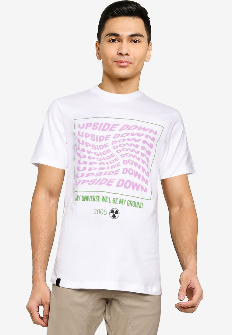 Upside Down White Graphic Tee