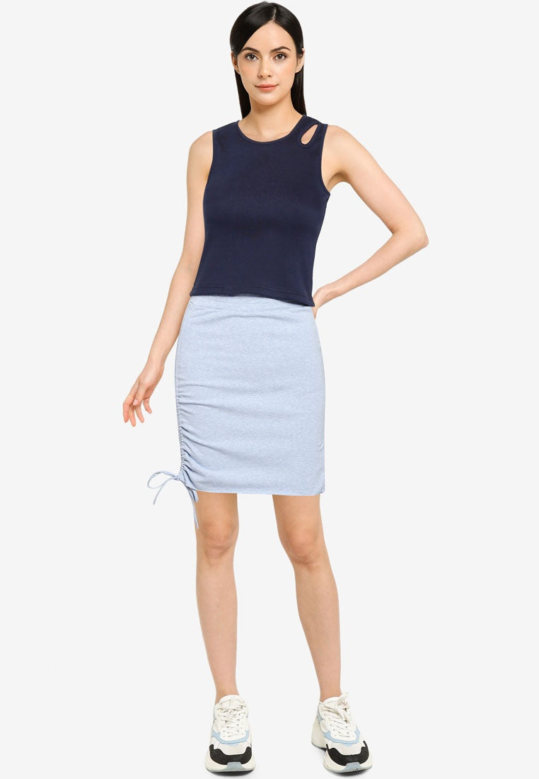 Ruched Drawstring Mini Skirt