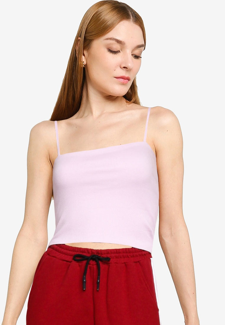 Ribbed Spaghetti Strap Crop Top