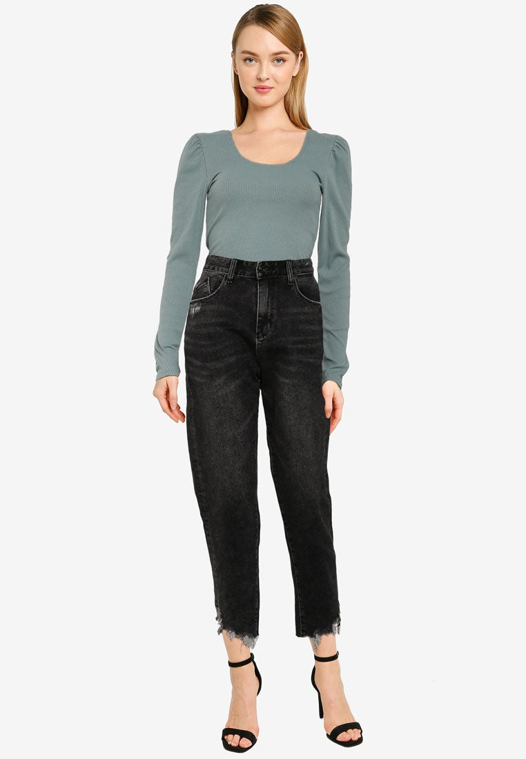 Ripped Ankle Mom Jeans - UniqTee Tokyo Style