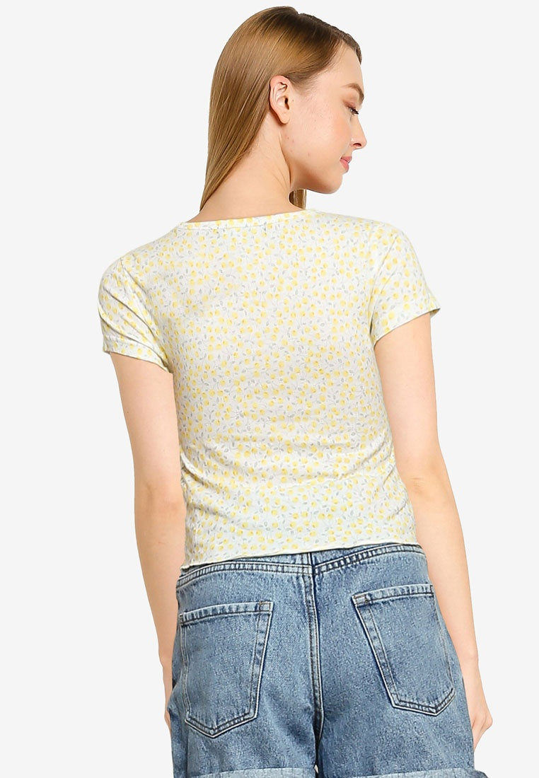 Ruched Front Lettuce Trim Crop Top