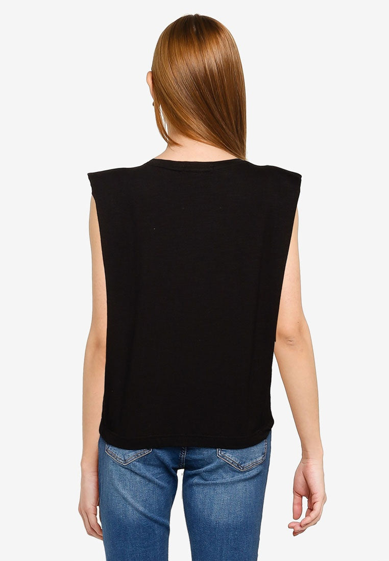 Sleeveless Top with Elastic Waistband