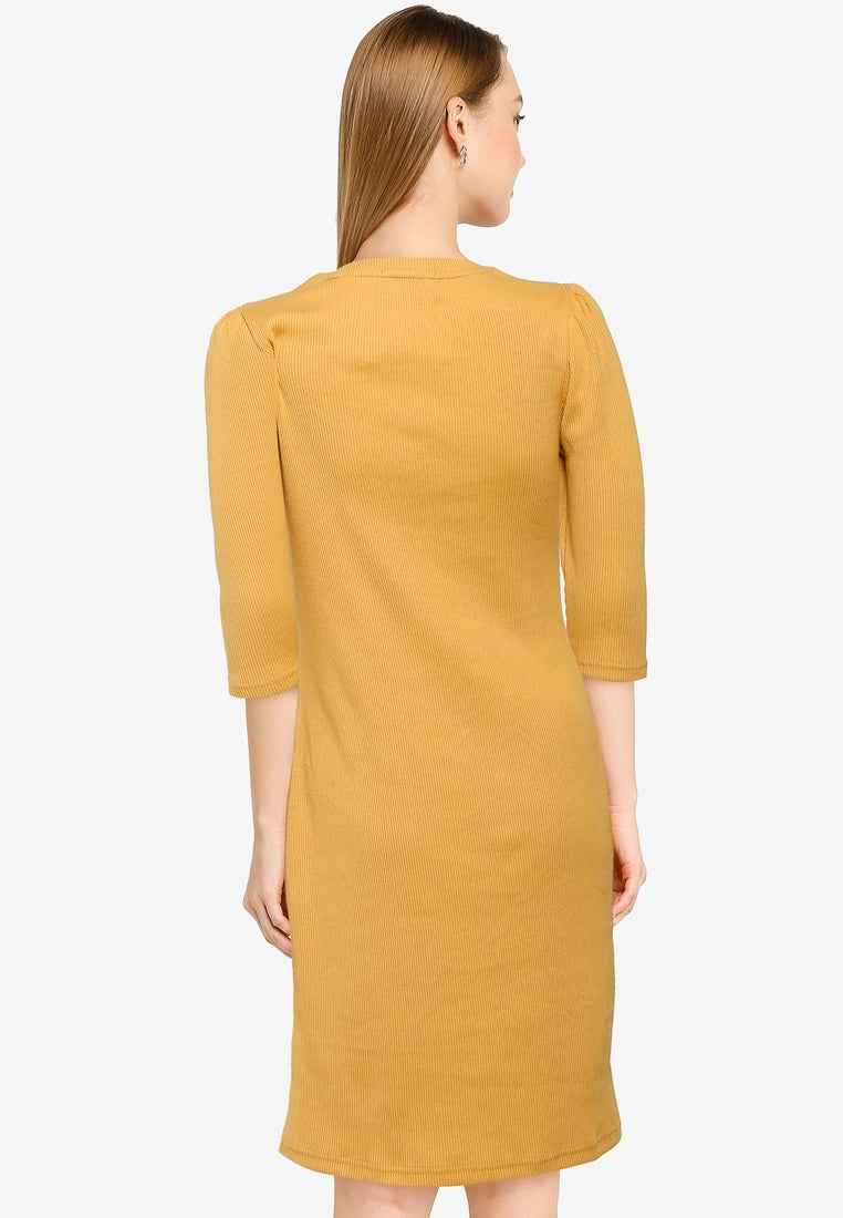 Gathered Sleeve Straight Dress - UniqTee Tokyo Style