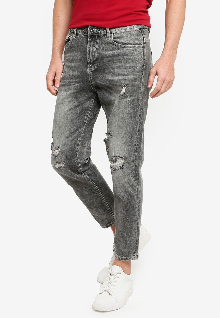 Loose Straight Ripped Jeans