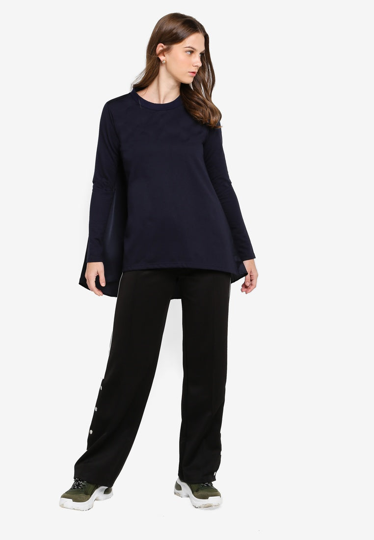Desconstructed Stepped Hem Long Sleeve Top - UniqTee Tokyo Style
