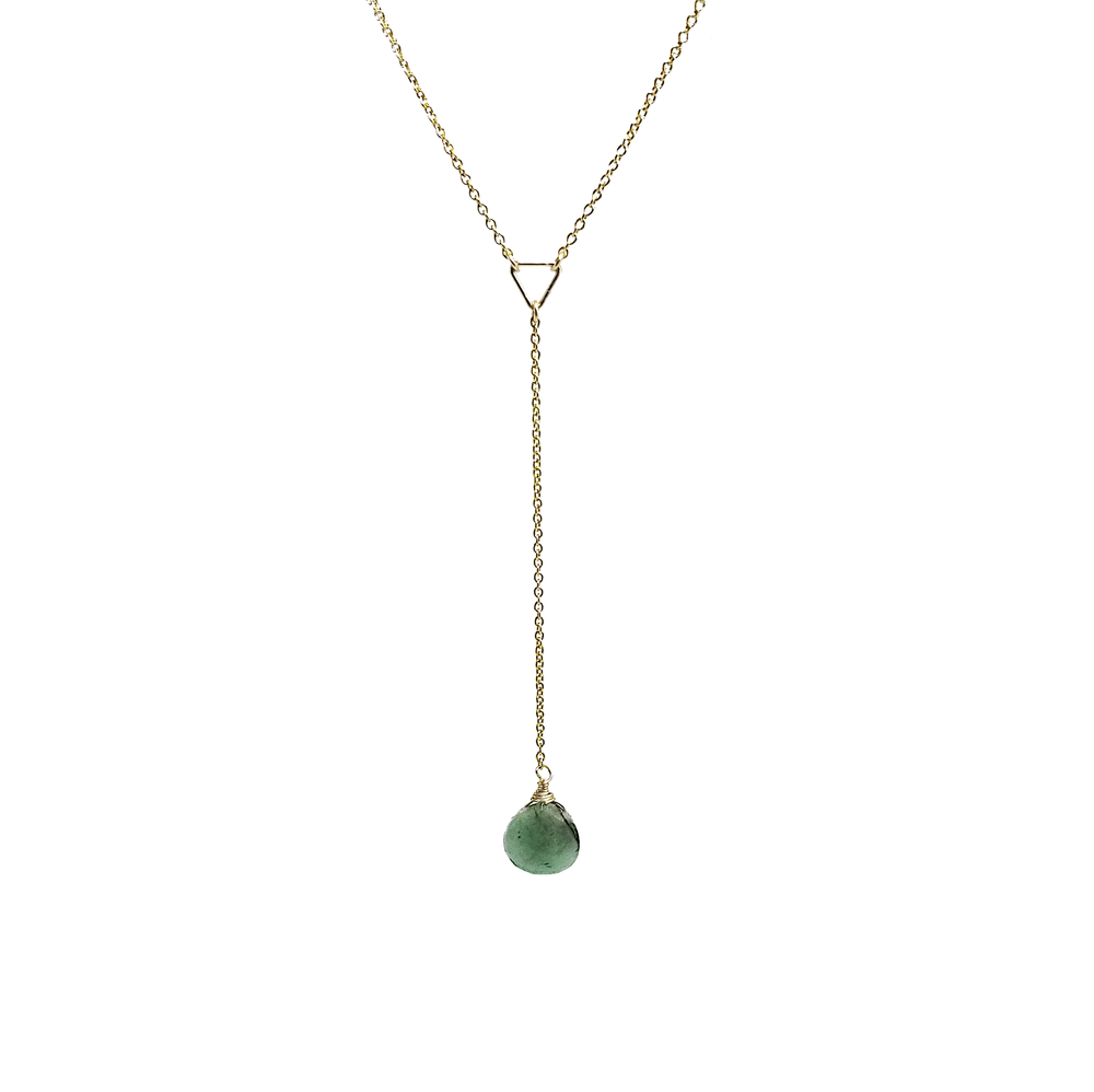 gold emerald teardrop lariat necklace