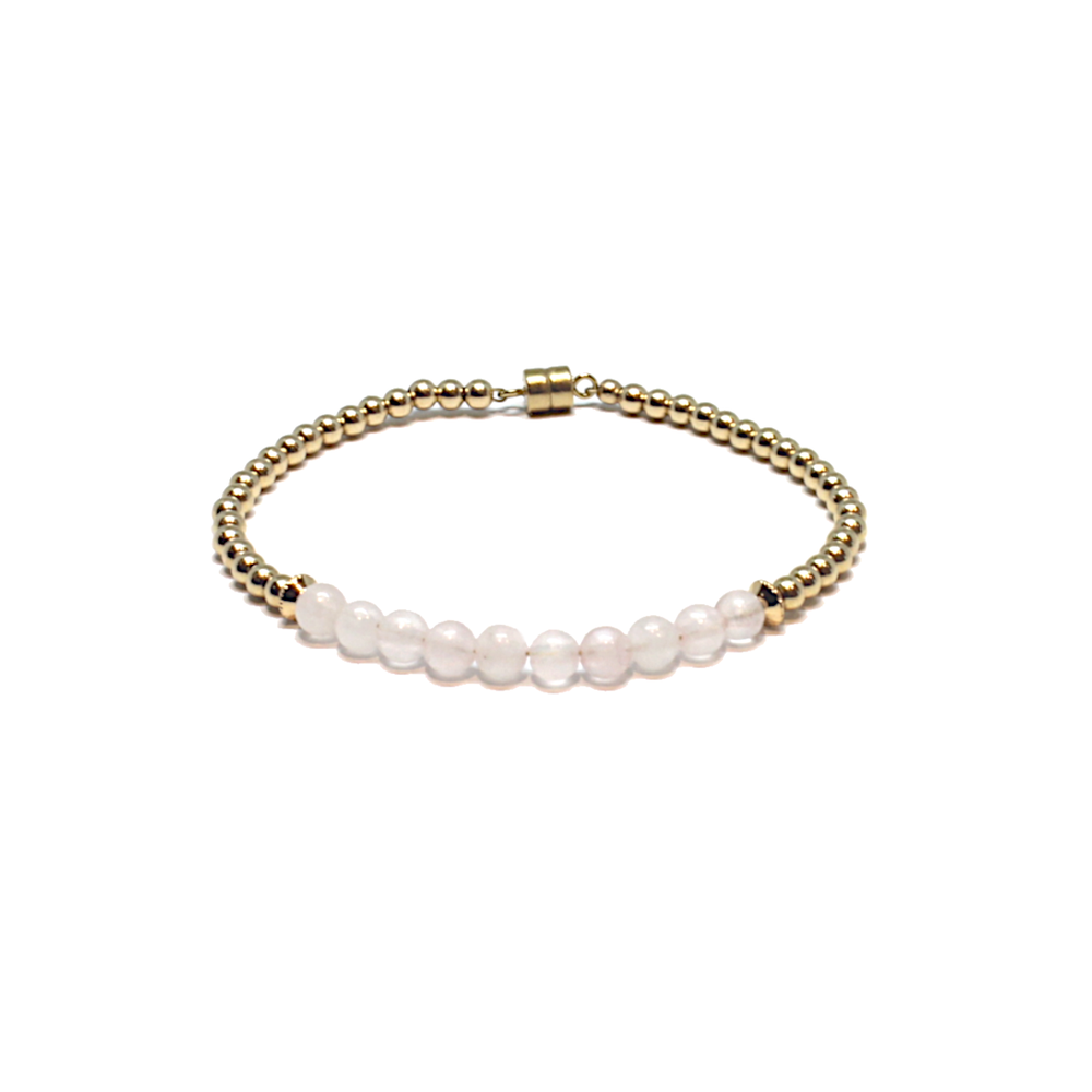 gold rose quartz find love bracelet