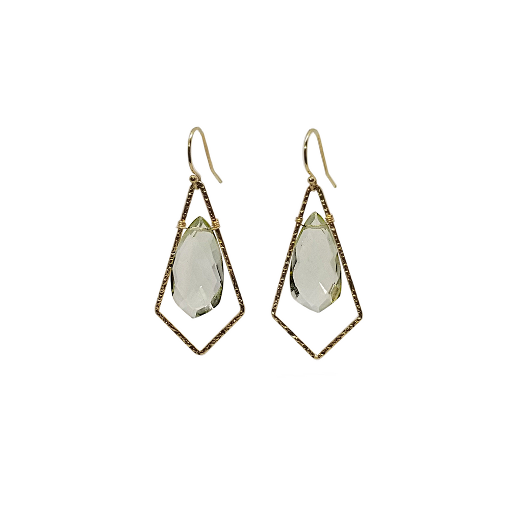 Gold earrings with green amethyst stones