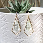 Gold earrings with green amethyst stone