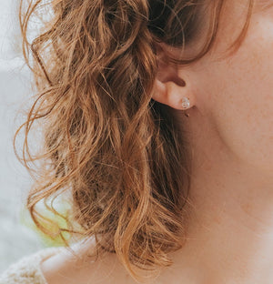 model wearing herkimer quartz earrings