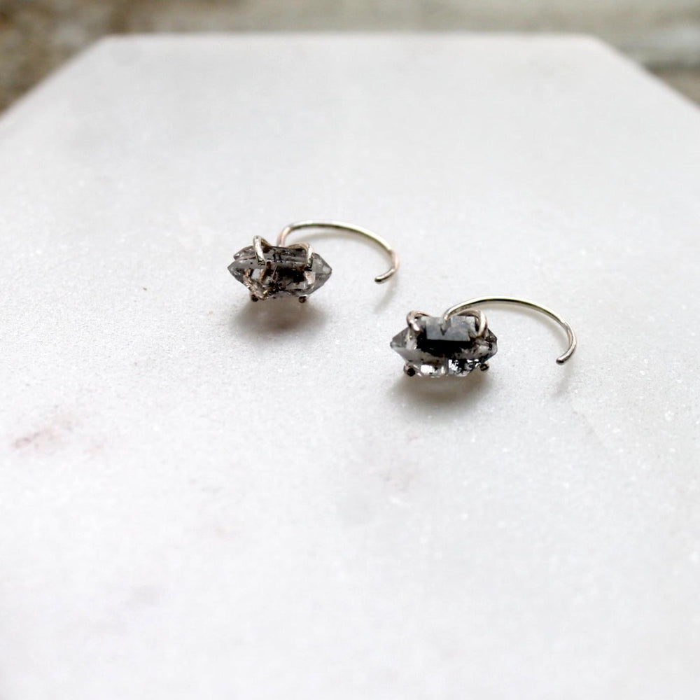 "herkimer quartz ""diamond"" earrings silver upclose"