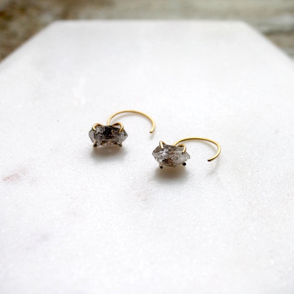 "herkimer quartz ""diamond"" earrings gold up close"