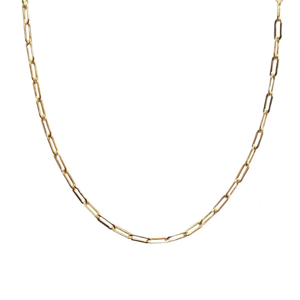 Gold necklace with elongated links