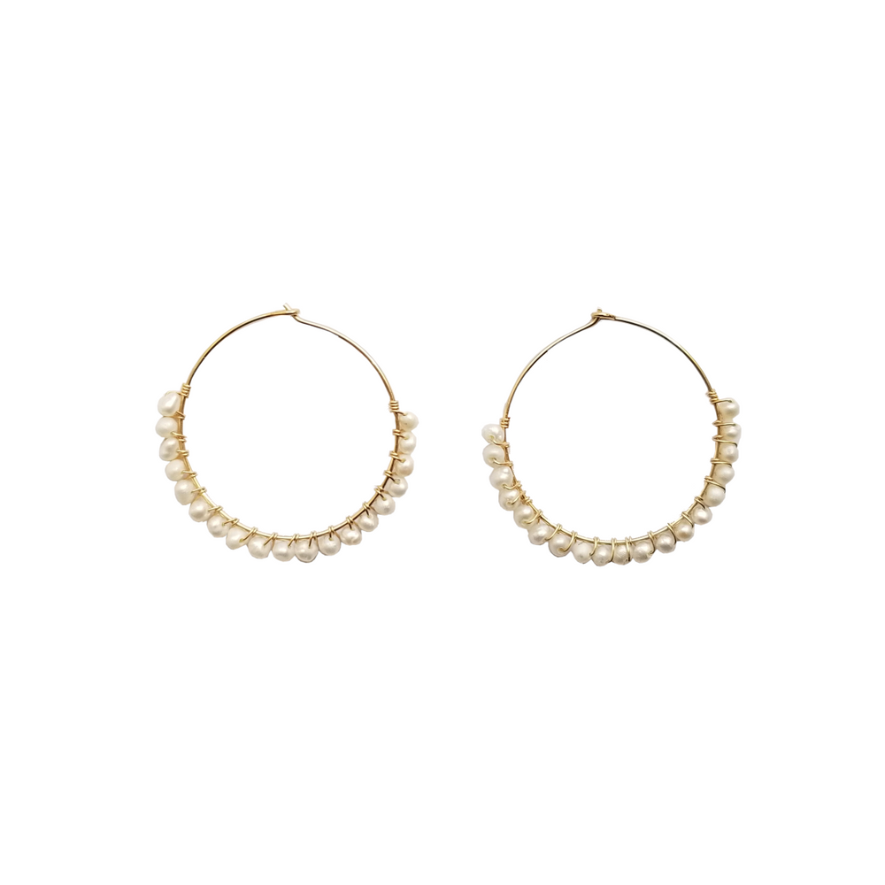 Gold hoop earrings with beaded freshwater pearls