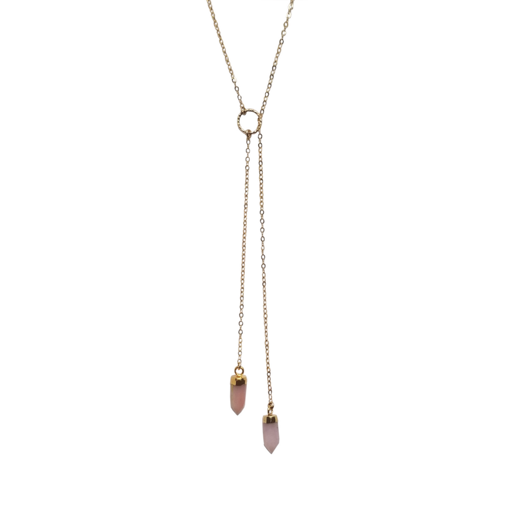 Gold bolo lariat necklace with two pink opal pendants