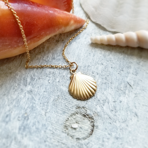 gold seashell short necklace up close