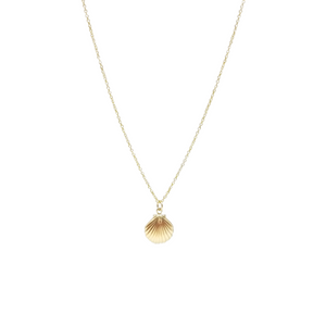 gold seashell short necklace