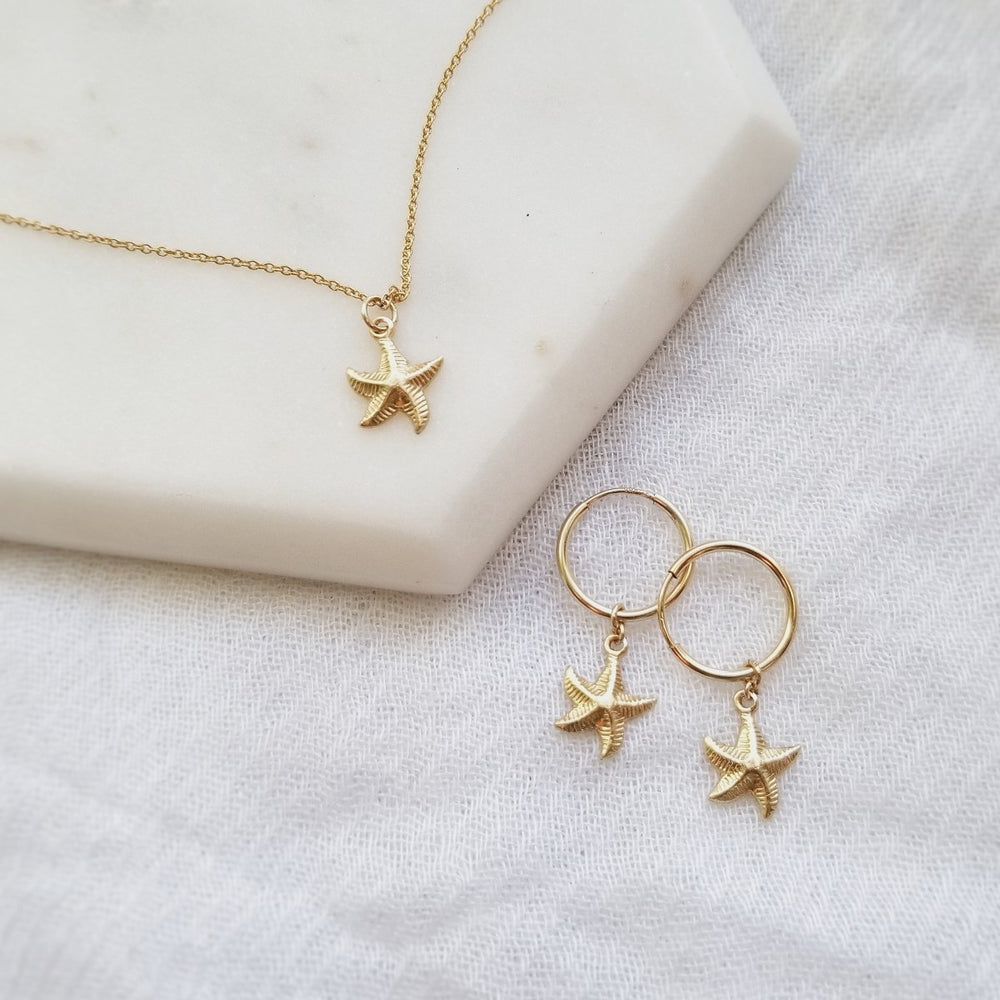 gold filled starfish necklace and tiny gold hoops with starfish charms