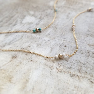 turquoise beaded and howlite beaded anklet close up
