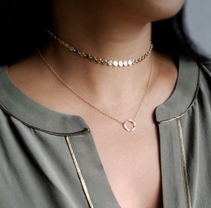 Circle layered gold choker and necklace