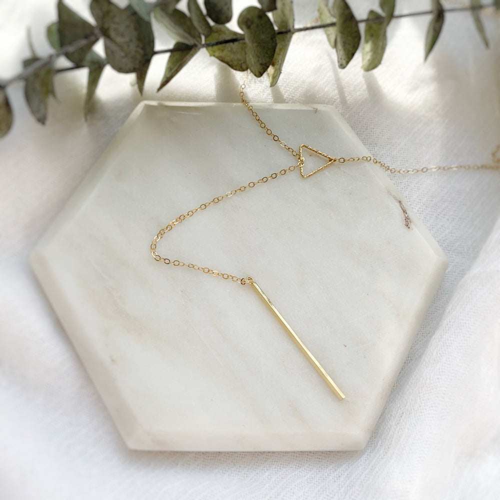gold drop bar lariat necklace