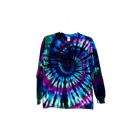 Tie Dye Spiral Long Sleeve T Shirt Adult Youth Sizes 5.3oz