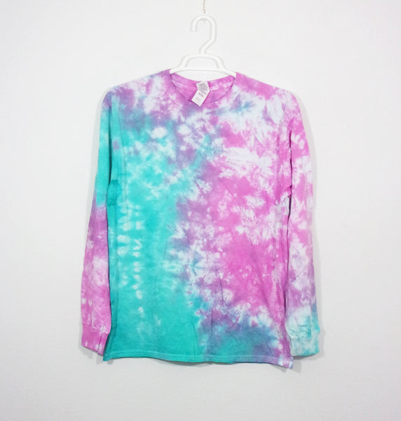 Tie Dye T Shirt Adult Large Long Sleeve Crinkle Cotton Premade