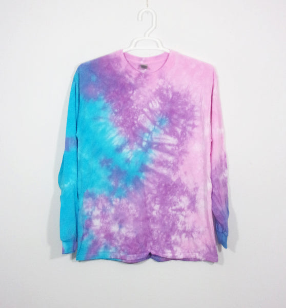 Tie Dye T Shirt Adult Large Long Sleeve Crinkle Cotton 5.3oz Premade