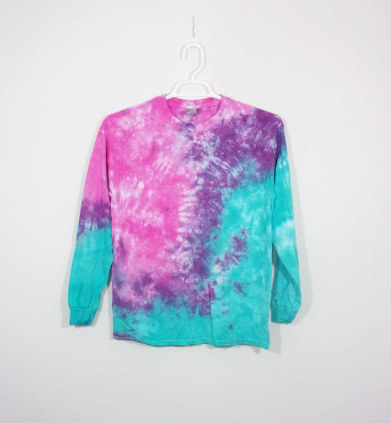 Tie Dye T Shirt Adult Medium Long Sleeve Crinkle Cotton 5.3oz Premade