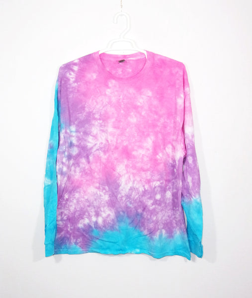 Tie Dye T Shirt Adult 2XL Long Sleeve Crinkle Cotton Premade