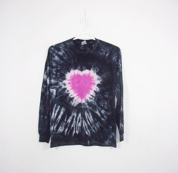 Tie Dye T Shirt Adult Medium Long Sleeve Heart Crinkle Cotton 5.3oz Premade