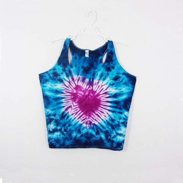 Tie Dye Tank Top Adult 3XL Heart Crinkle Racerback Ladies Tank Top Women's Premade