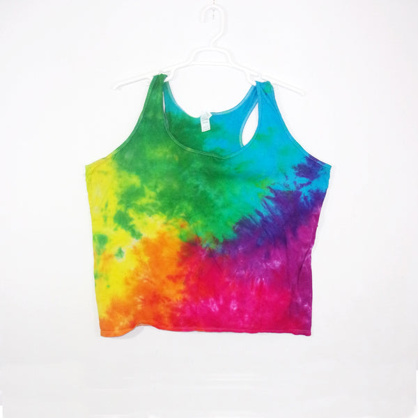 Tie Dye Tank Top Adult 3XL Crinkle Racerback Ladies Tank Top Women's Premade
