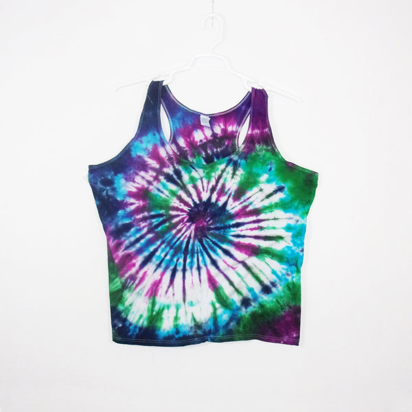 Tie Dye Tank Top Adult 2XL Spiral Racerback Ladies Tank Top Women's Premade