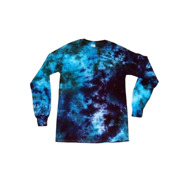 Adult Youth Long Sleeve Crinkle Tie Dye T Shirt