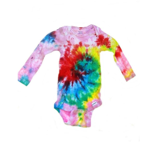 Tie Dye Baby Onesie Galaxy Swirl Handmade Tye Die Cotton Gerber And Child Of Mine Long Sleeve - ID 3002GCOMLS