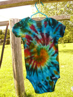 Tie Dye Baby Onesie Galaxy Swirl Handmade Tye Die Cotton Gerber And Child Of Mine Short Sleeve - ID 3009GCOMSS