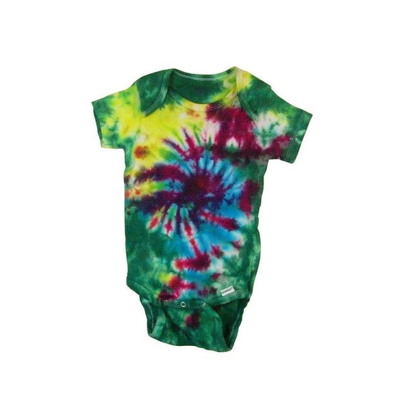 Tie Dye Baby Onesie Galaxy Swirl Handmade Tye Die Cotton Gerber And Child Of Mine Short Sleeve