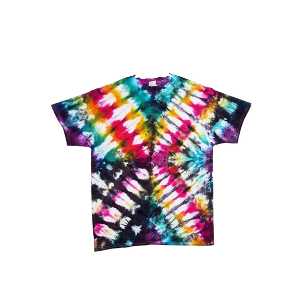 Tie Dye Short Sleeve T Shirt 6oz Folded Stripes Adult Sizes S M L XL 2XL 3XL 4XL 5XL - ID 50046oz