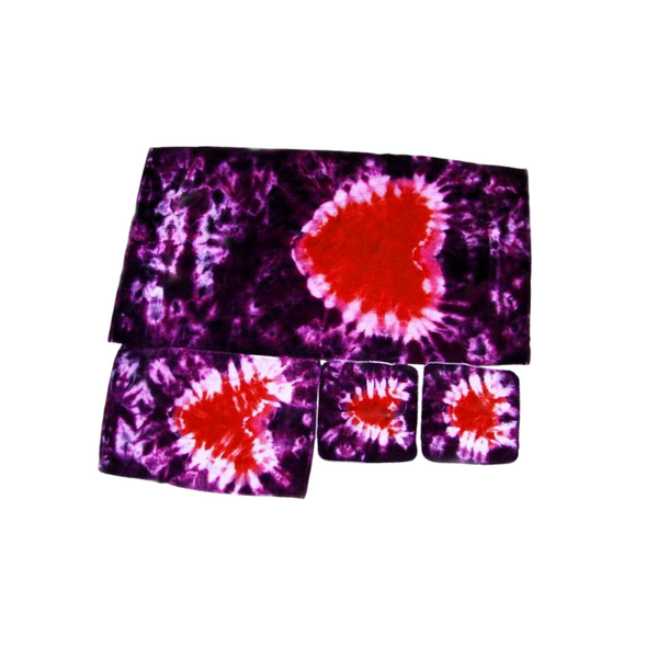 Tie Dye Bathroom Towel Set Crinkle Heart of 1 Bath Towel 1 Hand Towel 2 Wash Cloths Cotton Valentines Day 100%