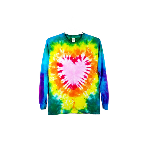 Tie Dye Shirt Heart Crinkle Cotton Valentines Day Long Sleeve