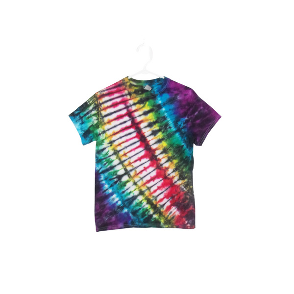Tie Dye T Shirt Adult Small Crew Neck Accordion Fold Cotton Short Sleeve 5.3oz Premade