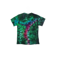 Tie Dye T Shirt Adult Large Crew Neck Crinkle Cotton Short Sleeve 5.3oz Premade