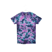 Tie Dye T Shirt Adult Small Crew Neck Crinkle Cotton Short Sleeve 5.3oz Premade