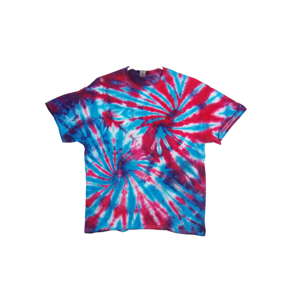 Tie Dye T Shirt Adult XL Crew Neck Double Spiral Cotton Short Sleeve 5.3oz Premade
