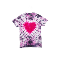 Tie Dye T Shirt Adult Small Crew Neck Heart Crinkle Cotton Short Sleeve Premade