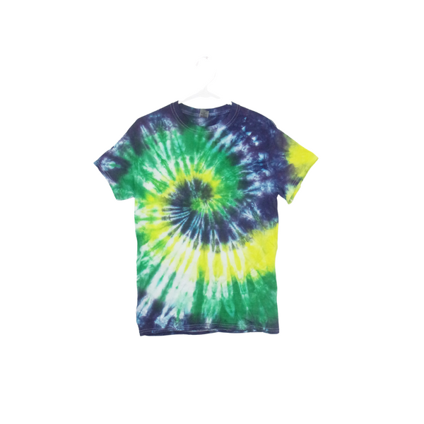 Tie Dye T Shirt Adult Small Crew Neck Spiral Cotton Short Sleeve 5.3oz Premade