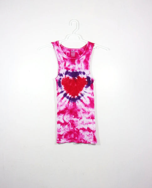Tie Dye Tank Top Ribbed Heart Crinkle Cotton Valentines Day